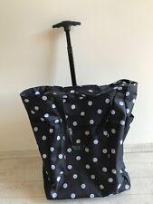 EinkaufsTrolley  schwarz mit weißen Punkten leicht teleskopstange u. rollen