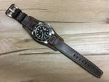Full Bund Strap, Brown Real Leather Cuff Watch Strap -Fit for 19,20mm Lug