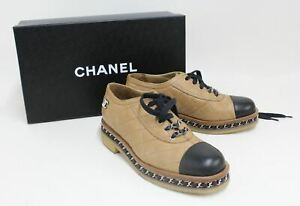 CHANEL Ladies Quilted Tan Brown & Black Leather Lace Up Brogues Shoes EU37 UK4