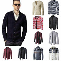 Mens V Neck Casual Cardigan Knit Sweater Jacket Knitwear Coat Blazer Blouse