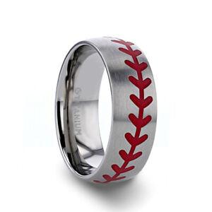 Baseball Pattern Red Stitching Titanium Brushed Finish Men's Ring - 8mm NEW