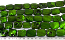 GR044 - Flat Rectangle Green Shell Beads - 25x20mm x1 strand (16pce) - 62g