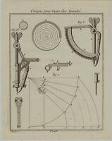 KOMPASS Spiralkompass Original Kupferstich um 1780 Nautik Seefahrt Schiffe Meer