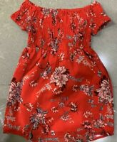 RRP £27 River island Red Floral Print Bardot Frok                         (U17)