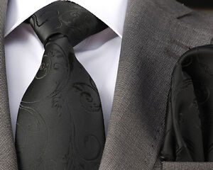 ITALIAN DESIGNER Milano Exclusive BLACK EMBOSSED FLORAL SILK TIE & HANKY