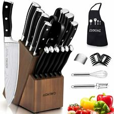 Knife Set, 22-Piece Kitchen Knife Set with Block Wooden German Stainless Steel