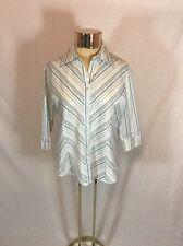 Women's Striped Fluid Button Down Collar 3/4 Sleeve Shirt Size Small