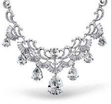 Rhodium Plated Teardrop Art Deco CZ Bridal Collar Necklace 16 Inches For Women