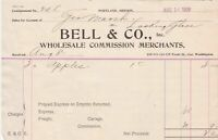 U.S. Portland Oregon Bell & Co. 1906 W. Comm. Merchants Apples Invoice Ref 41947