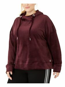CALVIN KLEIN Womens Burgundy Long Sleeve Hooded Sweater Plus Size: 3X