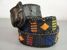 Southwestern Native American Indian Braided Leather Woven Womens Belt Vintage