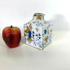 Vintage Gold & Blue Decorated Meissen Jar Bottle Square Vase