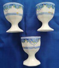 3 x Vintage 1930s Royal Doulton Art Nouveau  Arvon Blue Egg cups