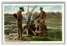 WWI A Field Telephone in Operation, U.S. Army Series 4 Postcard N1