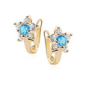 Kinder Ohrringe echt Silber 925 Vergoldet Blumen Blau Zirkonia Geschenk