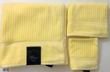 NEW HOTEL VENDOME 3 PC SET YELLOW 100% COTTON BATH TOWEL+HAND TOWEL+WASH CLOTH
