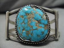 Sterling Silver Cuff Old Vintage Navajo Bracelet #8 Turquoise