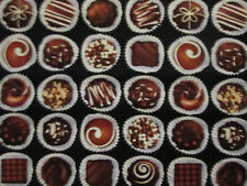 CHOCOLATE CANDIES CANDY BOXED TREATS DESSERT COTTON FABRIC FQ