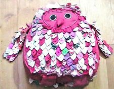 FRENCH 1960s GROOVY EMBROIDERED OWL COTTON PILLOW~COLOURFUL WINGS & FEATHERS~NEW