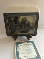 "Thomas Kinkade ""Hometown Lake"" Hometown Memories Plate COA, Box, Stand Limited"