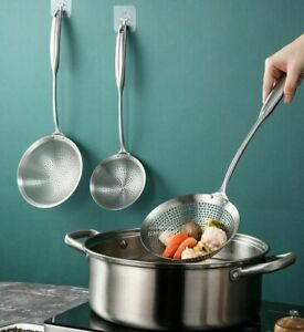 304 Stainless Steel Skimmer Strainer Colander Mesh Deep Oil Frying Kitchen Tools