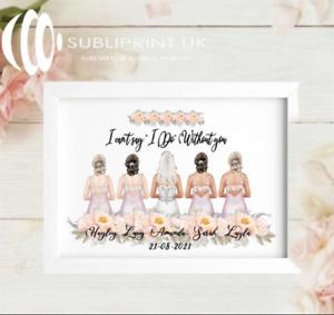 Bride / Bridesmaid / Maid of Honour Wedding Personalised Flower Gift PRINT