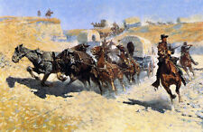 Attack on the Supply Wagons  by Frederic Remington   Giclee Canvas Print Repro