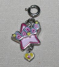 Dance Star Heart Bracelet Charm Pink Stacked Enamel Silverplate Spring Clasp NEW