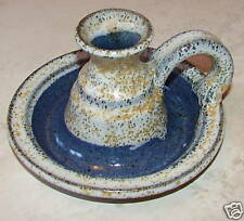 """Candle Holder Pottery Artistic 3"""" h Mint 5 1/2 Signed Nappy Design Single Gift"""
