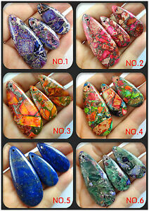 NATURAL PICTURE MULTICOLOR GEMSTONE PEMDAMT LOOSE BEADS 3pcs 【6 color】