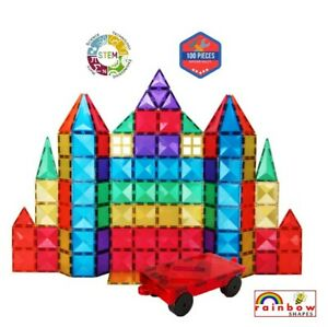 Rainbow Shapes NEW UK Magnetic Tiles kid STEM toy strong as Magna Playmags 100PC