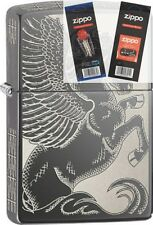Zippo 28802 pegasus all sides Lighter with *FLINT & WICK GIFT SET*