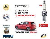 FOR VW GOLF 2.0 TSi GTi MK6 2009->SERVICE KIT OIL AIR FILTER SET + SPARK PLUGS