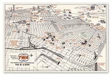 "BIG Trans World Airlines TWA San Francisco MAP circa 1965 - 24"" x 36"" Art Poster"