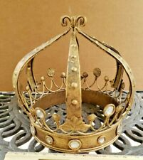 Vintage Religious/Alter Gold Crown Jeweled 6.75 inches tall 6 inches wide base