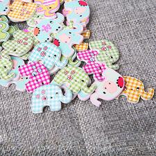 50Pcs Bulk Cute Elephant Baby Wooden Sewing Buttons Scrapbooking 2 Holes