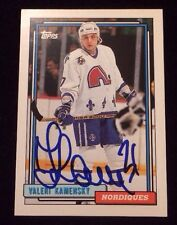VALERIE KAMENSKY 1991-92 TOPPS Autographed Signed AUTO HOCKEY Card 53 NORDIQUES