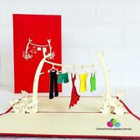 Handmade Colourful Clothesline 3D Pop Up Card