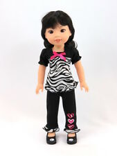 """Zebra Hearts Pant Set Outfit Fits 14.5"""" Wellie Wisher American Girl Doll Clothes"""