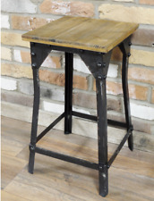 Industrial Angle Metal Stool , Wooden Top Vintage style Chair Seat Kitchen 54cmH
