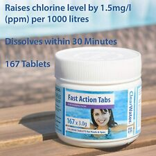 More details for clearwater fast action tabs chlorine tablets for hot tub swimming pools 167 tabs