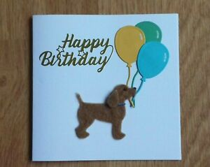 Cute Felted dog and balloons birthday card by Sarah Sample Art