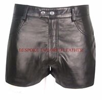 Men's Leather Shorts With Two Front Pockets in BLACK