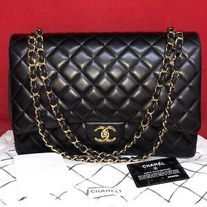 Chanel Timeless Double Flap Bag Maxi A58601 Lambskin Leder Classic Schwarz, Gold