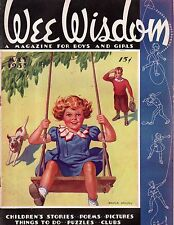 1937 Wee Wisdom May - How to make a flying fish Kite; Friday Crusoe Paperdoll