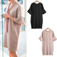 Women Ladies Casual Party Tunic Dress Short Sleeve AU Size 14 16 18 20 22 24 026