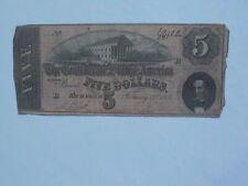 Civil War Confederate 1864 5 Dollar Bill Richmond Virginia Paper Money Note CSA