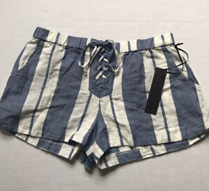 YFB Young Fabulous & Broke Sz XS Blue Striped Linen Blend Shorts Lace Up NWT