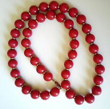 Retro Necklace Huge Red Beads 15mm Diameter 7mm Gold Plated Spacers/Safety Clasp