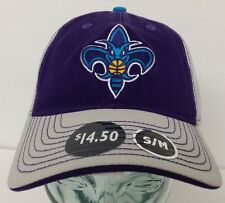 New Orleans Hornets Gray Purple Slouch Hat Cap NWT Stretch Fitted Curve Bill S/M